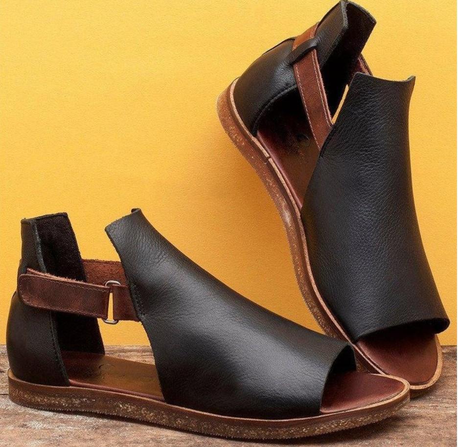 Women Flat Sandals Ladies Hook Loop PU Vintage Shoes Woman Peep Toe Casual Rome Fashion Female Shoes