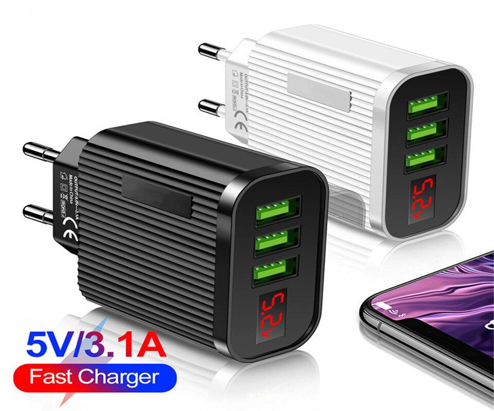 Cargador USB para iPhone 11 Pro Max, Samsung S20, S10 Plus, Xiaomi, Huawei, P40, 3A, pantalla LED