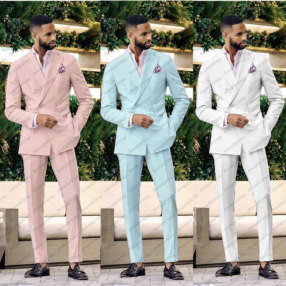 (معطف + بنطلون) 2021 بدلة رجالي وردي للعمل 2 قطعة بدلة العريس من Terno Masculino للزفاف ملابس خارجية أنيقة