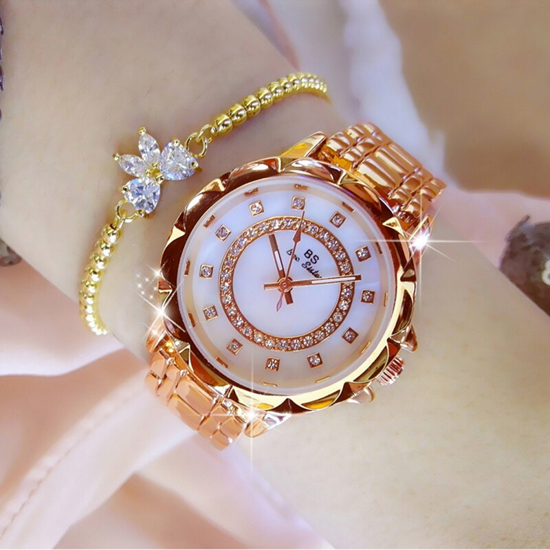 2021 Diamond Women Luxury Brand Watch Rhinestone Elegant Ladies Watch Rose Gold Clock Wrist Watches For Women relogio feminino women watches top luxury brand rose gold silver leather steel diamond quartz wrist watch relogio feminino clock montre femm