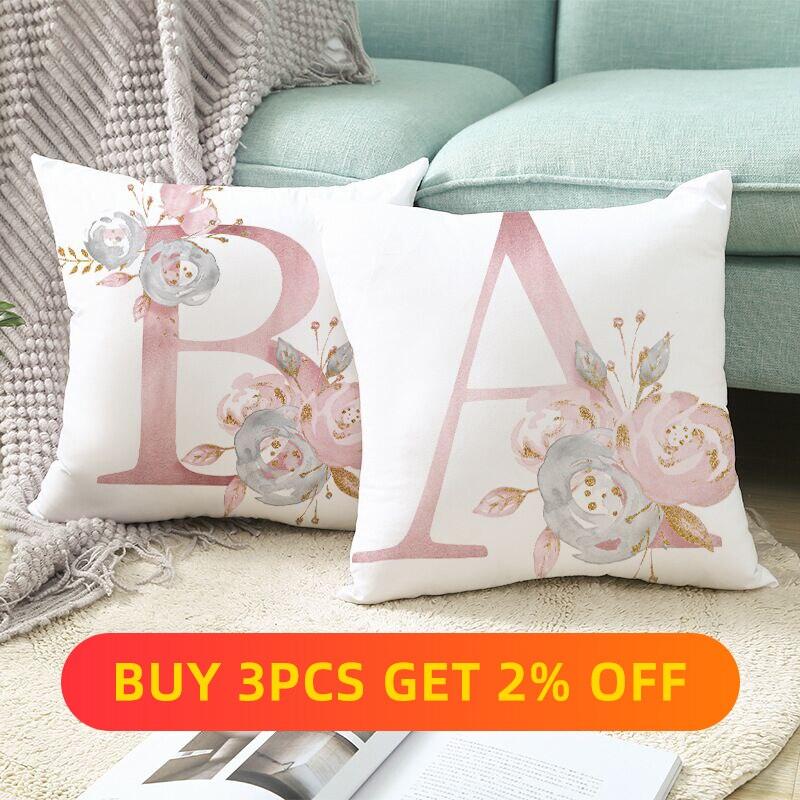 A-Z Letter Pillowcase Cover 45*45cm Sofa Decorative Cushion Pillow Short fluff  Throw Home Decor Pillowcover