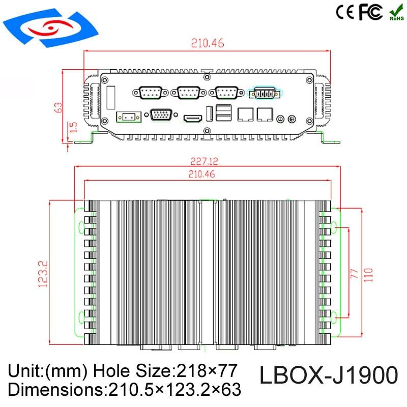 Embedded computer 4Gb ram 64Gb SSD intel celeron quad-core J1900 processor 4*COM (RS232/422/485) Fanless Industrial Mini PC
