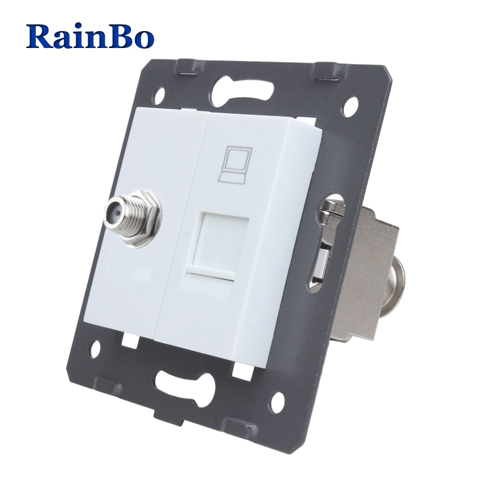 RainBo EU Standard Satellite+CAT6A Gigabit Super-shielded Computer RJ45 Socket  DIY Parts-Wall Without-Glass-Panel A8SACOCJW