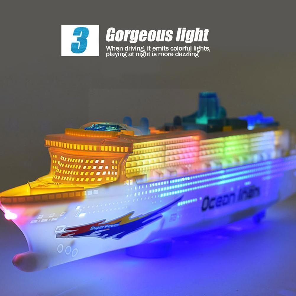 Simulation Ship Model Children's Light And Music Cruise Toy Ship Boat Universal Electric V0R7 diy simulation remote control ship model kit for tug804 tugboat rescue ship small scale and moped tugboat 1 18