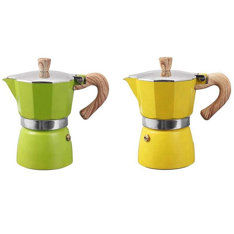 تعزيز! 2 قطعة الألومنيوم الايطالية موكا إسبرسو ماكينة القهوة تصفية موقد وعاء 3 أكواب-الأصفر والأخضر