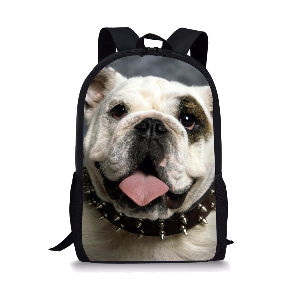 pug dog husky printing backpack for children girls Art cartoon dog black backpack suitable for little boys and girls children's schoolbag printing 3d backpack