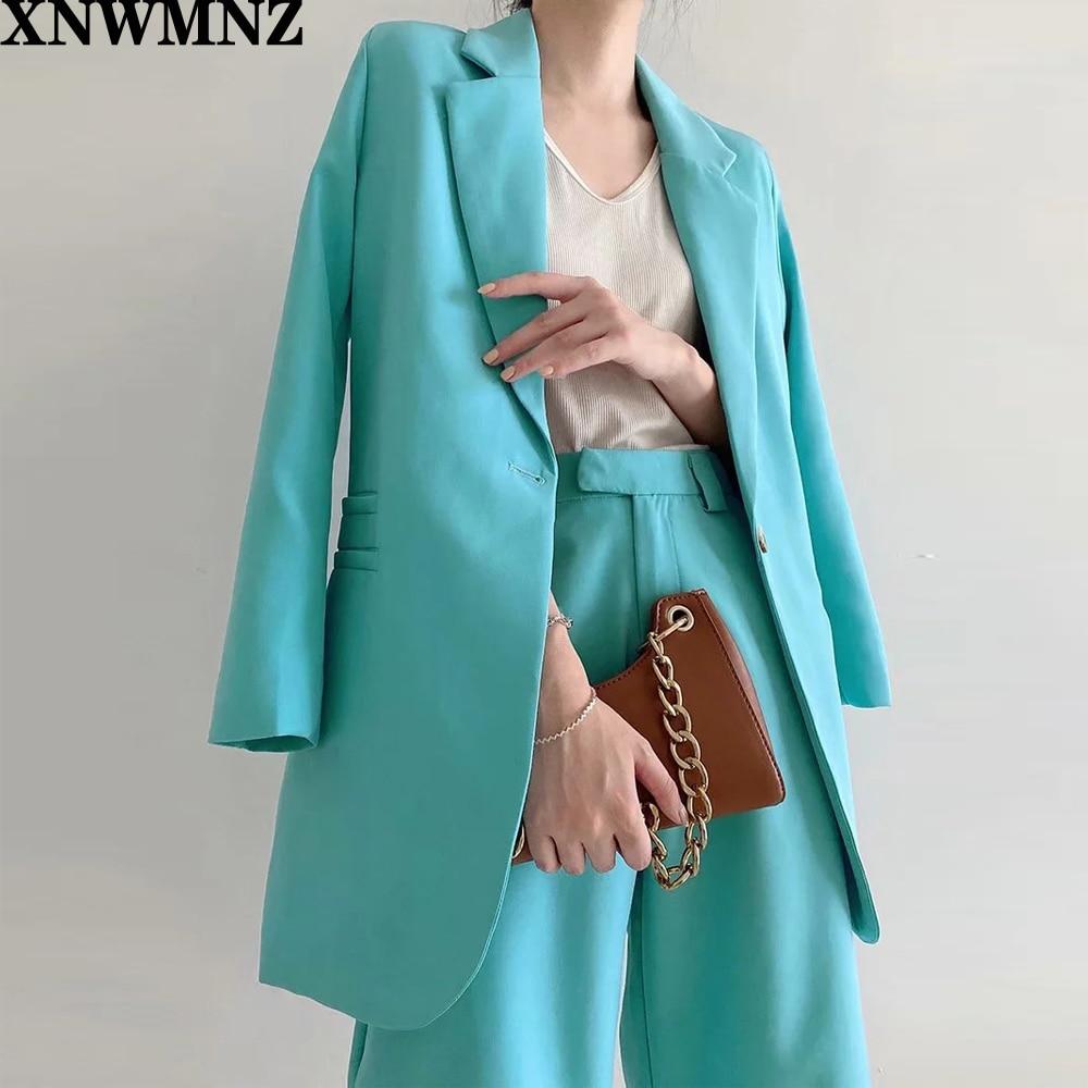 XNWMNZ ZA Women Blazer Two Pc Sets Femme 2021 Autumn Long Sleeve Single Button Blue Jacket Coat+ Solid Shorts