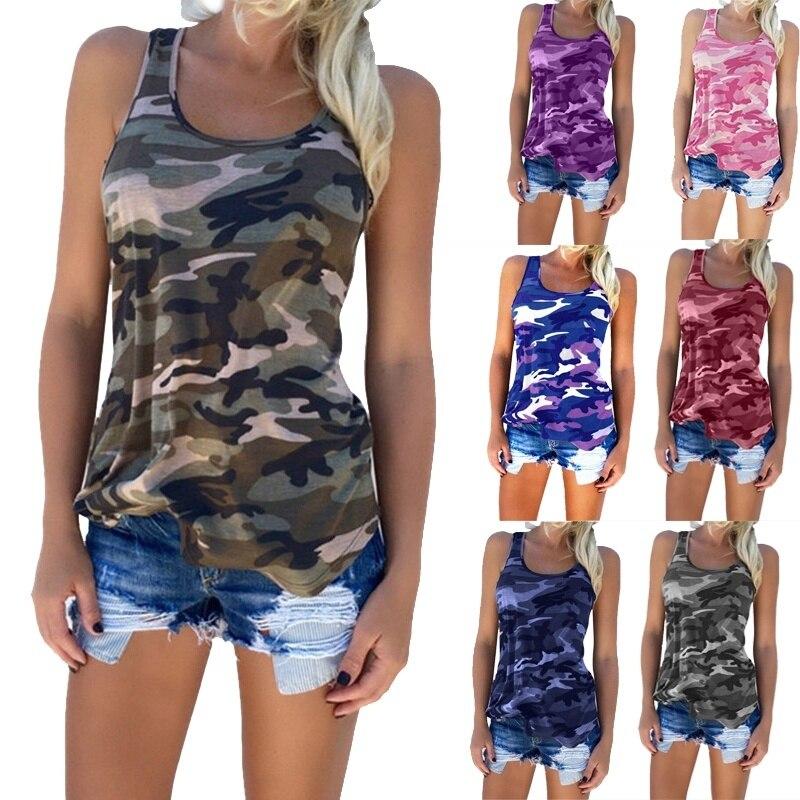 Novedad en Camiseta estampada de verano para mujer, chaleco de camuflaje informal a la moda, camisetas de tirantes ceñidas sin mangas con cuello redondo, Tops de talla grande S-5XL