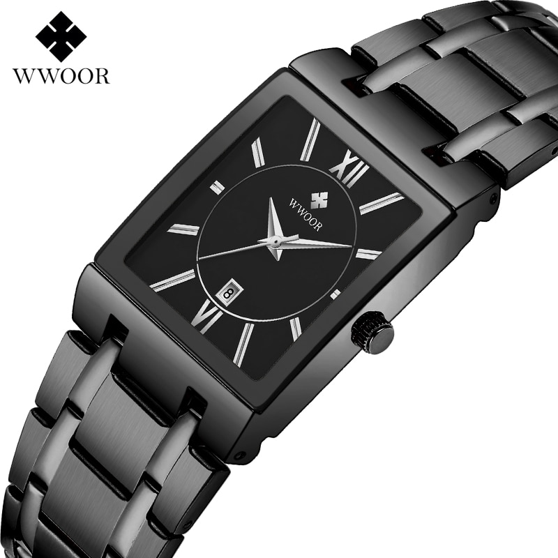WWOOR Watch Men Fashion Black Square Quartz Watches Top Brand Luxury Stainless Steel Waterproof Wrist Watch Business Sport Clock