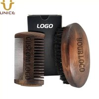 100pcslot oem customize logo retro beard brush and sandalwood fine coarse beard comb kits set in gift box printing logo