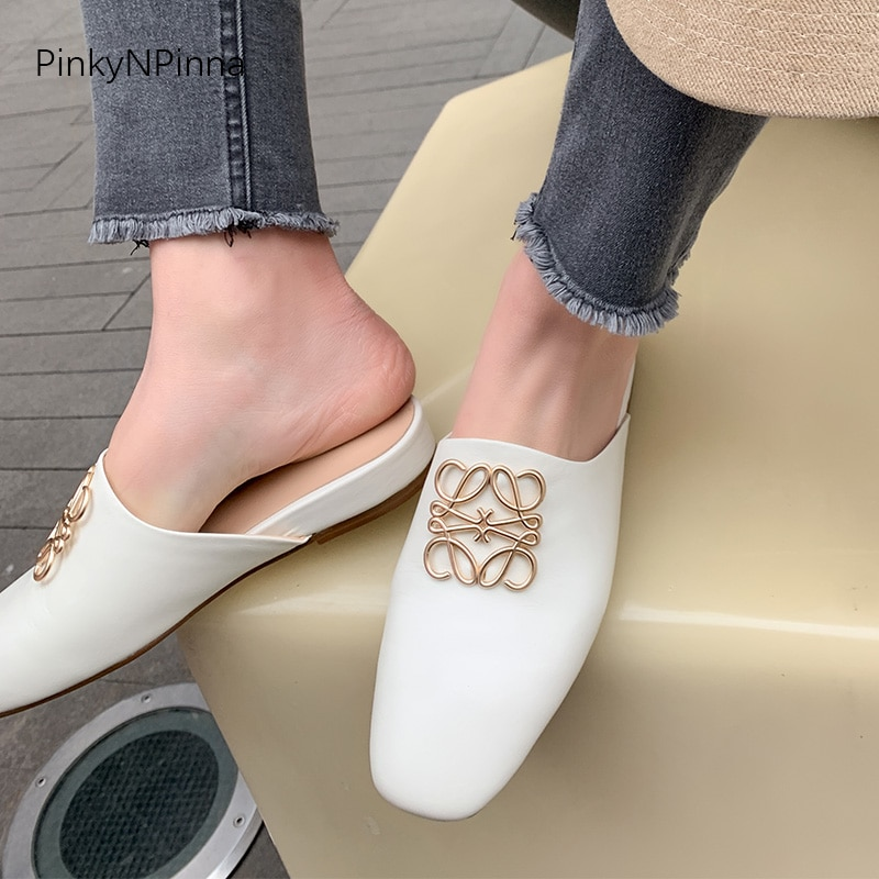 wetkiss plus size 33 43 high quality 2018 genuine leather women slippers square low heel summer solid color mules women shoes 2021 new designer women summer genuine leather plus size mules metallic luxury royal style slippers leisure holiday casual shoes