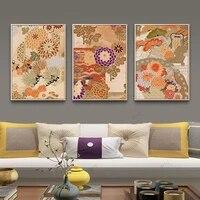 WTQ     affiche retro en toile pour decoration de salon  Style nordique japonais  eventail de fleurs  peinture murale