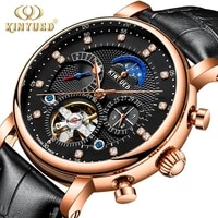 kinyued men automatic mechanical tourbillon watch business leather moon phase sport watches mens clock relogio masculino j025