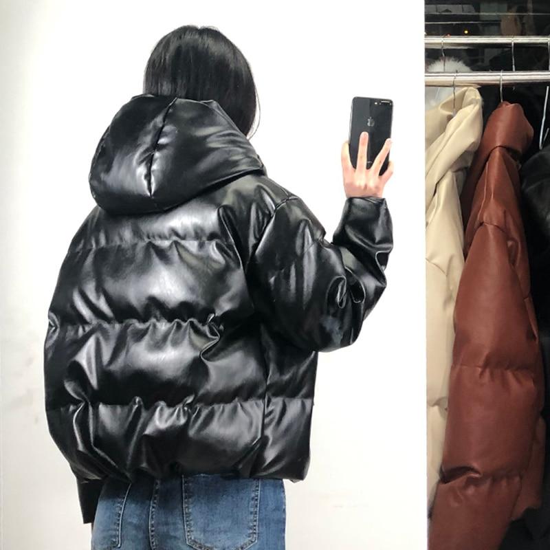 Fandy Lokar Zipper Short Parkas Women Fashion Pockets PU Leather Coats Women Elegant Winter Hooded Cotton Jackets Female Ladies enlarge