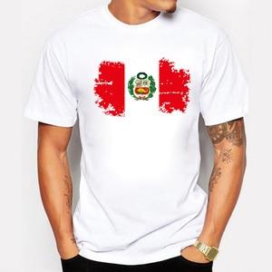 2019 Fans Cheer Peru T shirts For Men Short Sleeve Cotton Peru National Flag Men T-shirt Casual Round Neck Tee Shirts