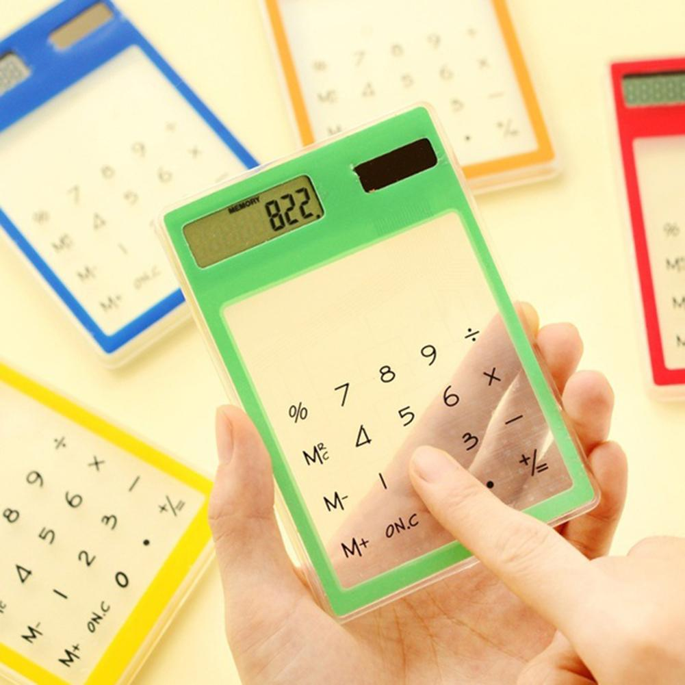 portable solar powered calculator screen 12 digit large lcd display for office daily use lhb99 Portable Ultra Slim Mini Transparent LCD Solar Powered Calculator Touch Screen 8 Digit Creative School Student Stationery