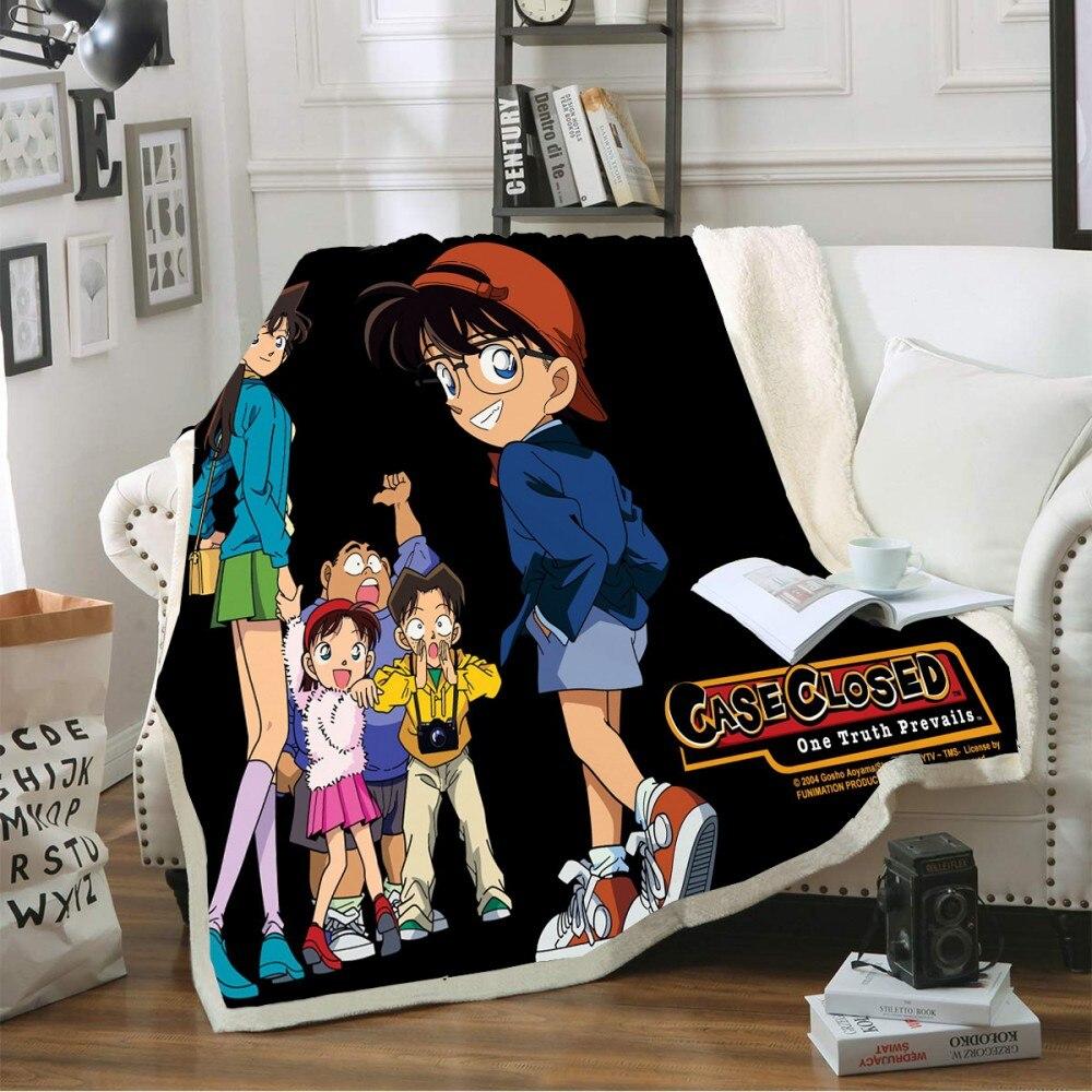 Manta Sherpa de forro polar cálido para el invierno, manta Anime de Detective Conan para la siesta, para viajes y Camping, manta de regalo para niños, ropa de cama para el hogar en sofá cama