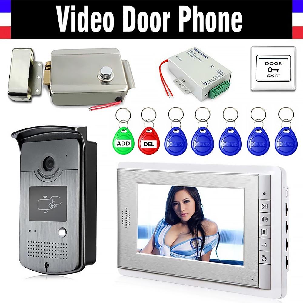 نظام الاتصال الداخلي للهاتف والفيديو بشاشة 7 بوصة ، قفل كهربائي ، كاميرا ألومنيوم ، مصدر طاقة ، باب الخروج ، معرف ، Keyfobs