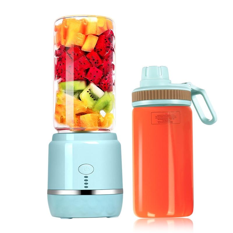 Licuadora de jugo portátil USB recargable de doble taza de verduras mezcladora de frutas licuadora eléctrica batidora de batidos
