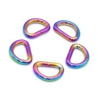 13mm rainbow d ring connector loop d bag clasp connector buckle d circles belt strap buckles for handbag purse hardware 10pcs