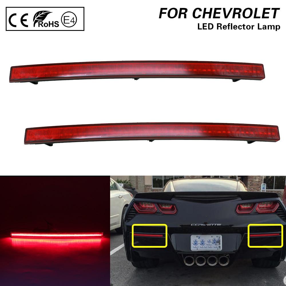 For 2014 2015 2016 2017 2018 2019 Chevy Chevrolet Corvette C7 Red lens LED Rear Bumper Reflector Brake Tail Lights Lamp Brake 2X