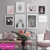 Toile de decoration de noel  affiches  rose Floral  fille  tableau dart mural pour salon  decoration de maison
