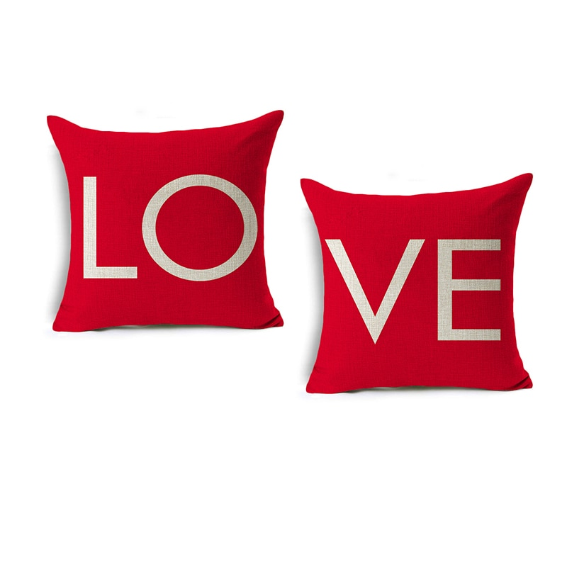 red rose flower heart polyester decorative throw pillowcase i love you letter cushions cover for sofa car valentine s day gift Valentine's Day LOVE Cushion Cover English Letter Sofa Throw Pillow Cases Linen Wedding Pillow Cover Home Decor Pillowcase Gift