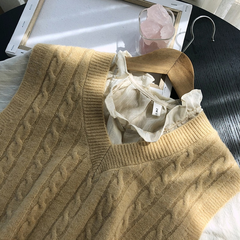 New V Neck Girls Pullover Vest Sweater Autumn Winter Solid Knitted Women Sweaters Vest Sleeveless Warm Jumper Casual Oversize