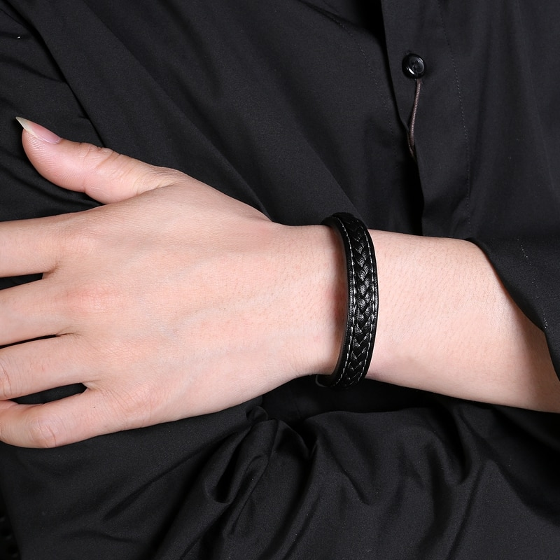 Men Bracelet Fashion Hot Sale Black Leather Stainless Steel Magnetic Buckle Bangles Male Punk Jewelry