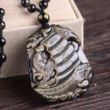 Obsidienne naturelle lisse voile pendentif breloque collier bijoux mode sculpté à la main amulette homme chance cadeaux chandail chaîne