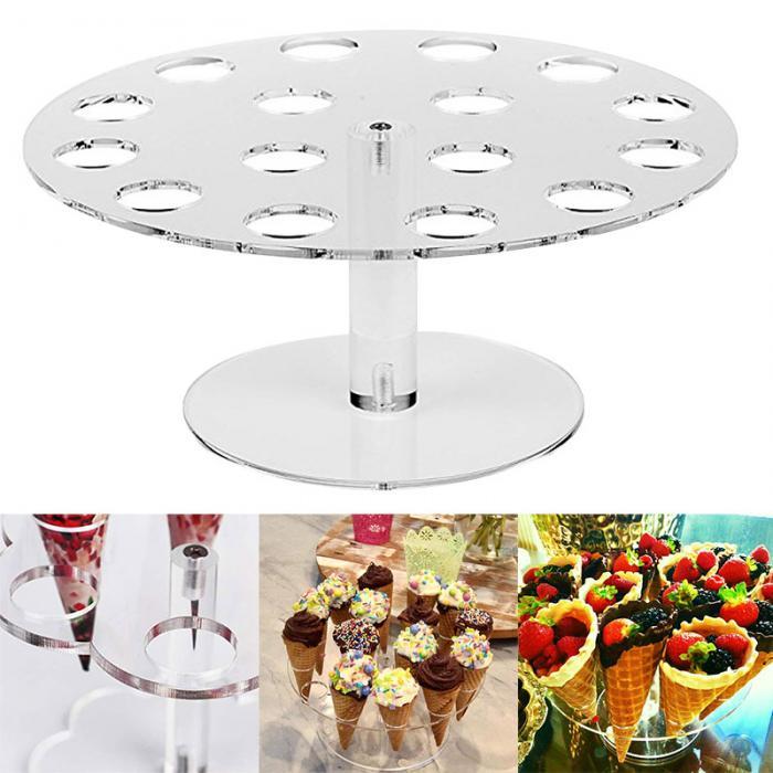 Nuevo soporte de acrílico para helados, soporte de cono para Tartas, 6/16 conos, exhibición de buffet de bodas XSD88