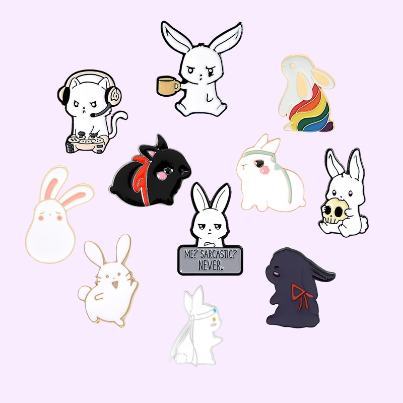 mdiger brand wholesale men s jewelry brooches lapel floral pin mens wedding party tuxedo upscale trendy brooches pin 16 pcs lot Cute Rabbit Series Enamel Pin Cartoon Animal Brooches for Women  Backpacks Lapel Pin Metal Badge Jewelry Gift's 2021 Wholesale