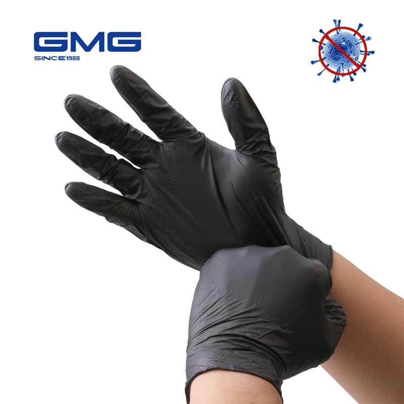 Nitrile Gloves Black 100pcs/lot Food Grade Waterproof Allergy Free Disposable Work  Gloves  Synthetic Nitrile Gloves Mechanic недорого