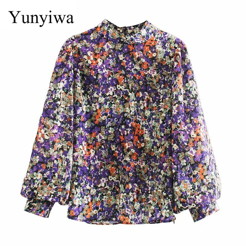 Novo 2020 mulheres vintage gola floral impressão casual quimono blusa feminina plissados lanterna manga chique camisa chemise topos