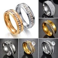 stainless steel eternity stack rings band wedding engagement cz zircon his and hers lovers couple ring finger jewelry for women