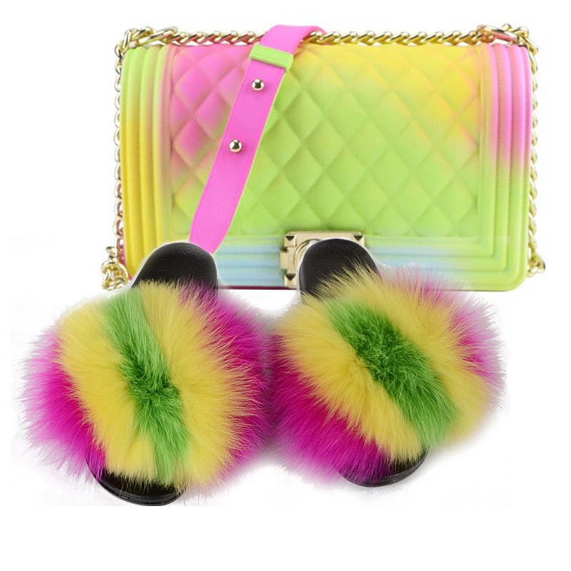 Femmes mode luxe fourrure pantoufles voyage gelée sac à main Match ensemble dames en peluche fourrure diapositives arc-en-ciel sac à main plage tongs