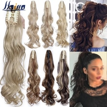 HAIRRO Claw Clip On Ponytail Hair Extension Synthetic Ponytail Extension Hair For Women Pony Tail Hair Hairpiece Wave Ponytail