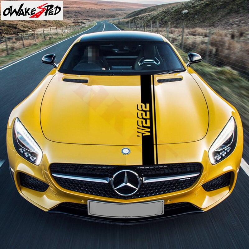 Capó del coche rayas etiqueta para Mercedes W203 W204 W205 W211 W212 W213 W124 W176 W108 W126 W140 W168 de Hood de la cubierta del motor de la etiqueta