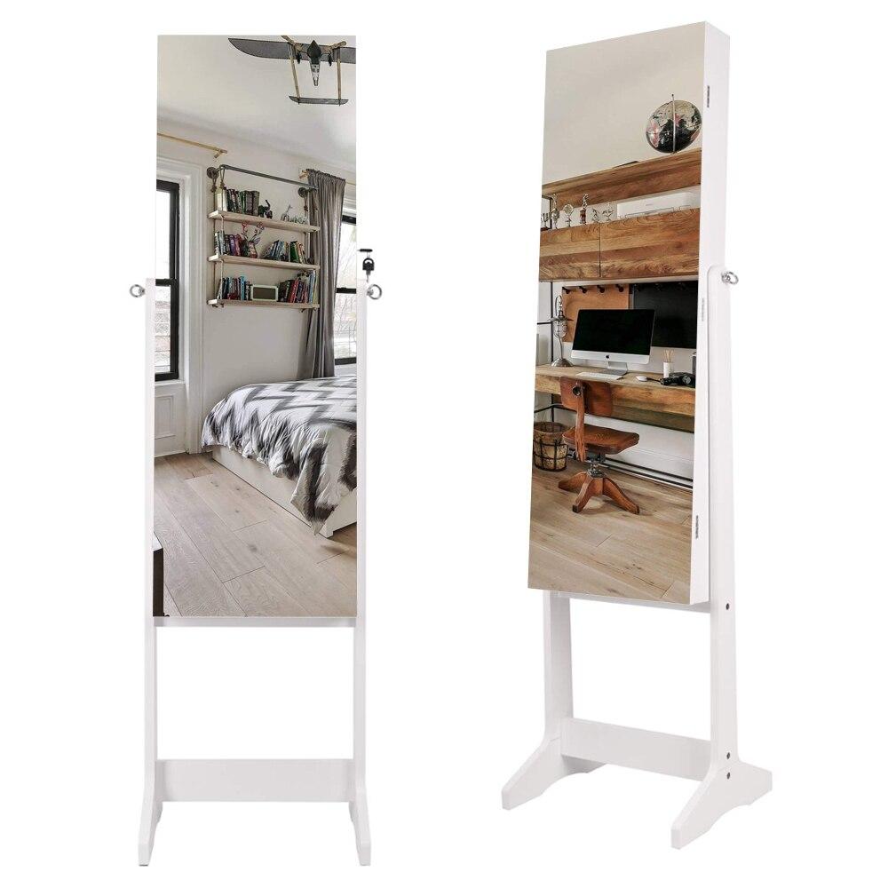 【US Warehouse】Full مرآة خشبية الطابق الدائمة 4 طبقة الجرف مع الداخلية مرآة 2 درج تخزين المجوهرات قابل للتعديل مرآة Cabint