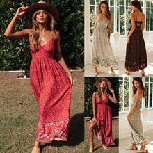 Yg brand women's 2021 summer new Bohemian long open back V-neck suspender Floral Dress