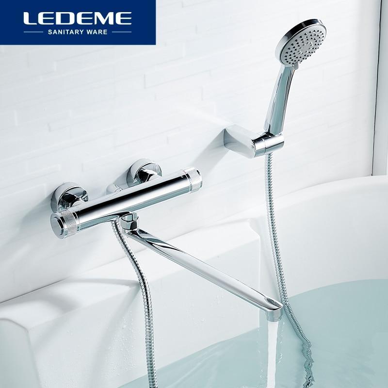 LEDEME حوض استحمام للاستخدام في الحمام صنبور مع مفتاح دوار اليد خلاط المياه الساخن والبارد صنابير الحائط طويلة صنبور الحنفيات L2276