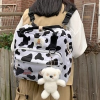 new lovely cow spotted backpack for women kawaii female suede multi function travel bag small cute schoolbag for student girl