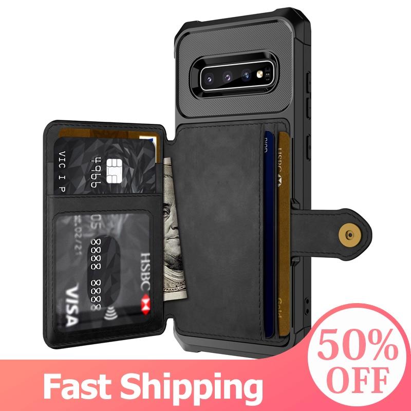 Чехол-книжка для samsung Galaxy S20 S9 S10 Plus Note 9 Note 10 Plus, с отделением для карт, из искусственной кожи, с держателем для фотографий, жесткий чехол-накладка