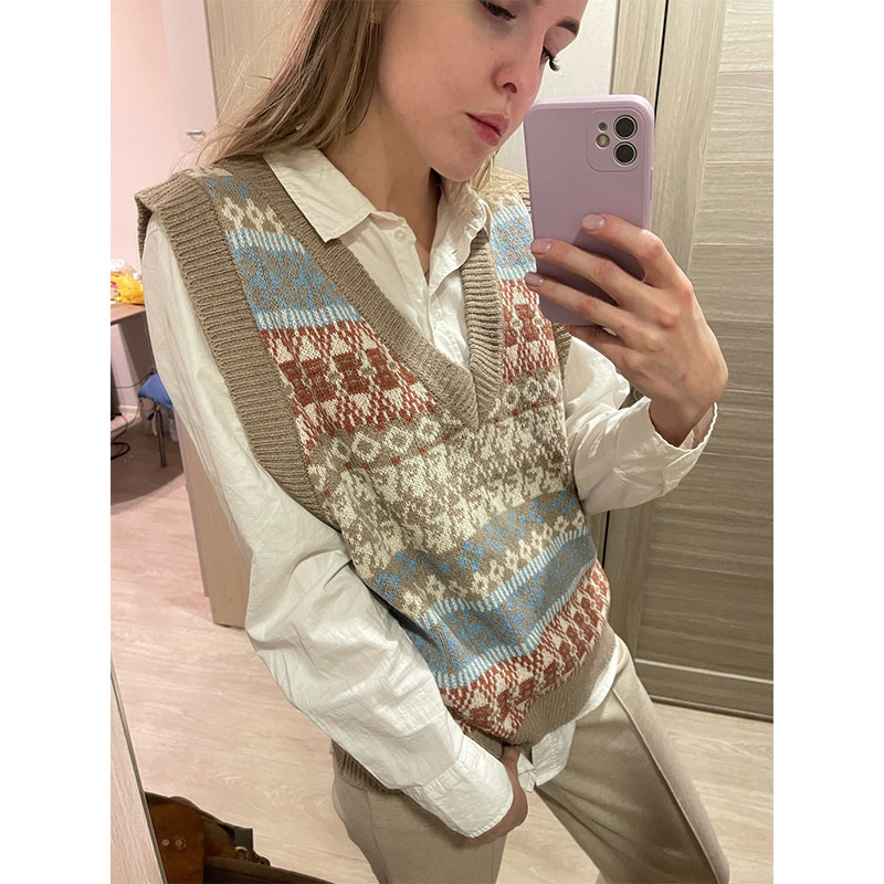 New V-neck Knitted Vest Sweater Women Sleeveless Patchwork Elasticity Sweater Loose Female Knit Top Casual Oversized Tops vest недорого