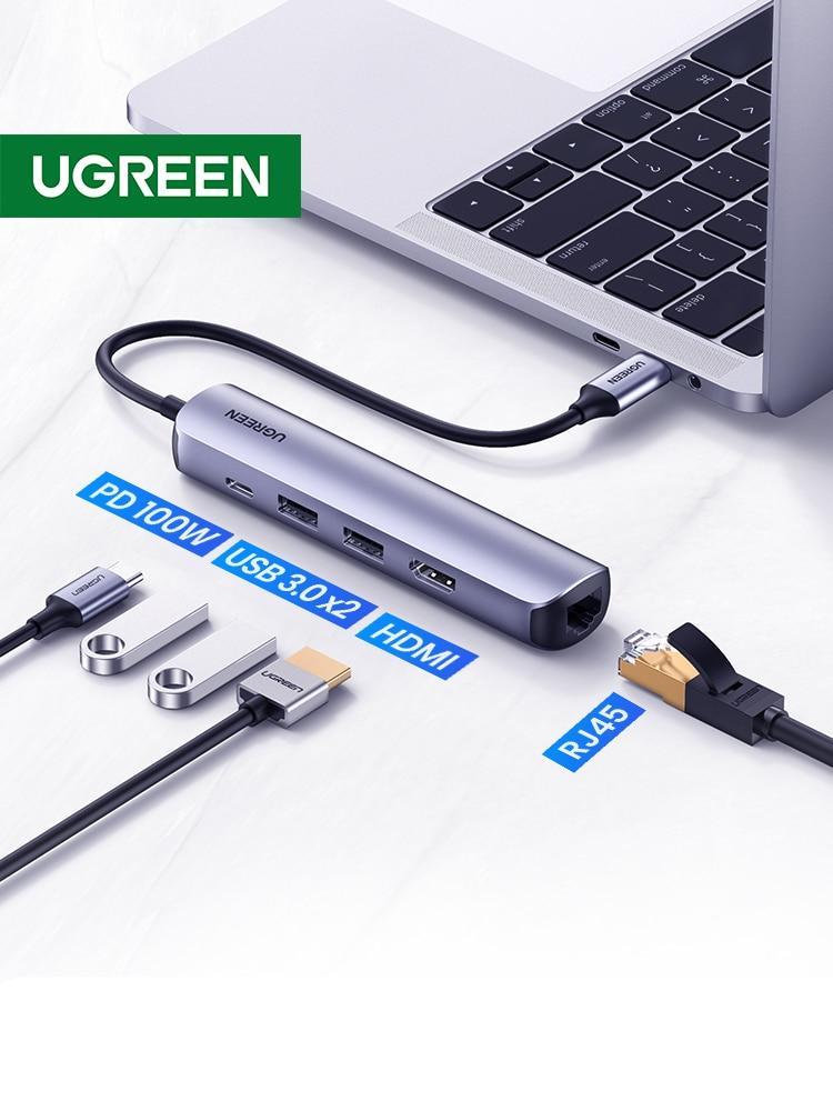 UGREEN USB C Hub Mini Size USB Type C 3.1 to 4K HDMI RJ45 PD USB 3.0 OTG Adapter USB C Dock for MacBook Air Pro 2020 PC USB HUB
