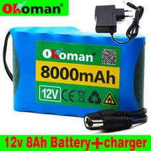 Okoman Portable Super 18650 Rechargeable Lithium Ion battery pack capacity DC 12 V 8000 Mah CCTV Cam Monitor+12.6V EU US charger