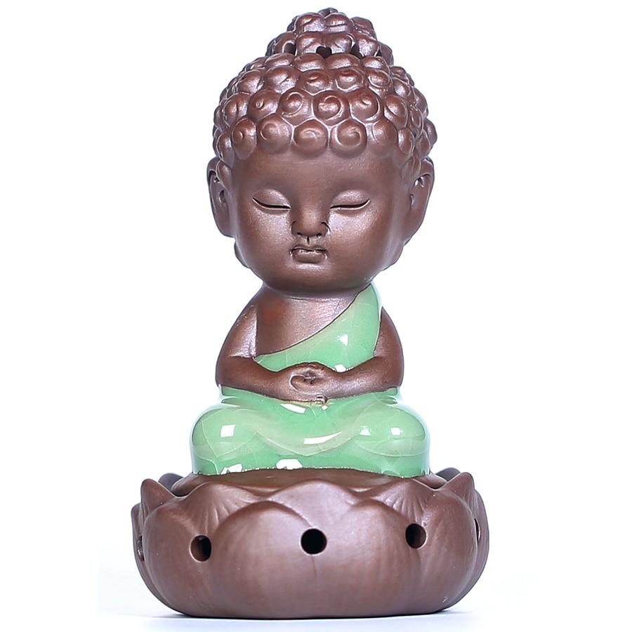 Pequeño Buda quemador de incienso de cerámica Zen Ganesha Censer Stick incienso titular de cerámica Bakhoor Porte Encens LLC001