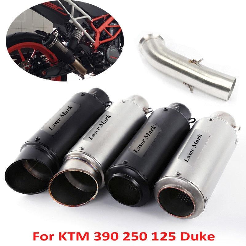 RC390 Motorrad Auspuff System Flucht Auspuff Tipp Rohr & Mid Verbinden Link Rohr Mit DB Mörder Für KTM DUKE 125 250 390