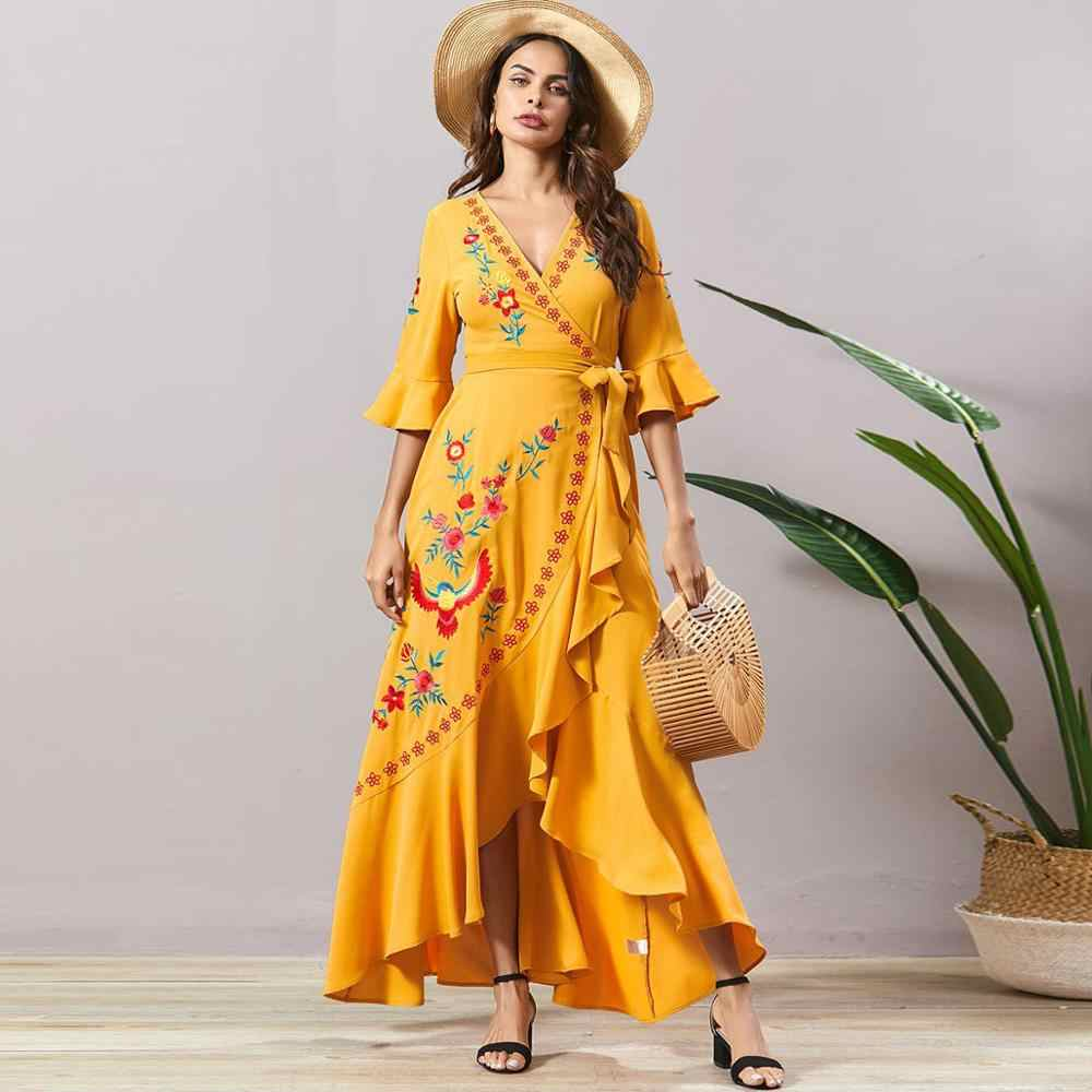 Siskakia Asymmetry Ruffle Embroidered Long Dress Bohemia Sexy V Neck 3 4 Sleeve Wrap Belted Split Maxi Dress Yellow Summer 2020 Dresses Aliexpress