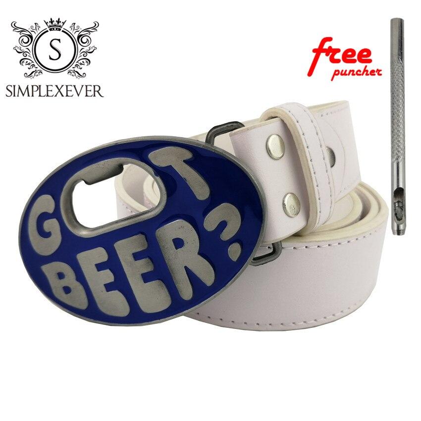 Hebilla de cinturón para hombre con abridor de botellas de cerveza, hebilla de cinturón de 100x65 Mm con cinturón de cuero y hebillas de cinturón con perforador gratis, triangulación de envíos